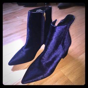 Steven Velvet Blue Boots